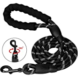 SlowTon Dog Lead, 5FT Training Leash Pet Rope Leash with Soft Padded Safety Control Handle and High Reflective Threads, Strong Pulling Long Doggier Lead for Small Medium Large Dogs Walking Hiking