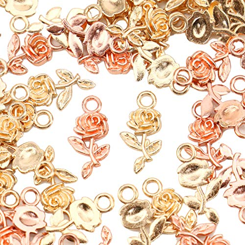 - JETEHO Pack of 100 Alloy Charms Pendants Rose Shape DIY Pendant Charms for Making Bracelet and Necklace, Gold and Rose-Gold