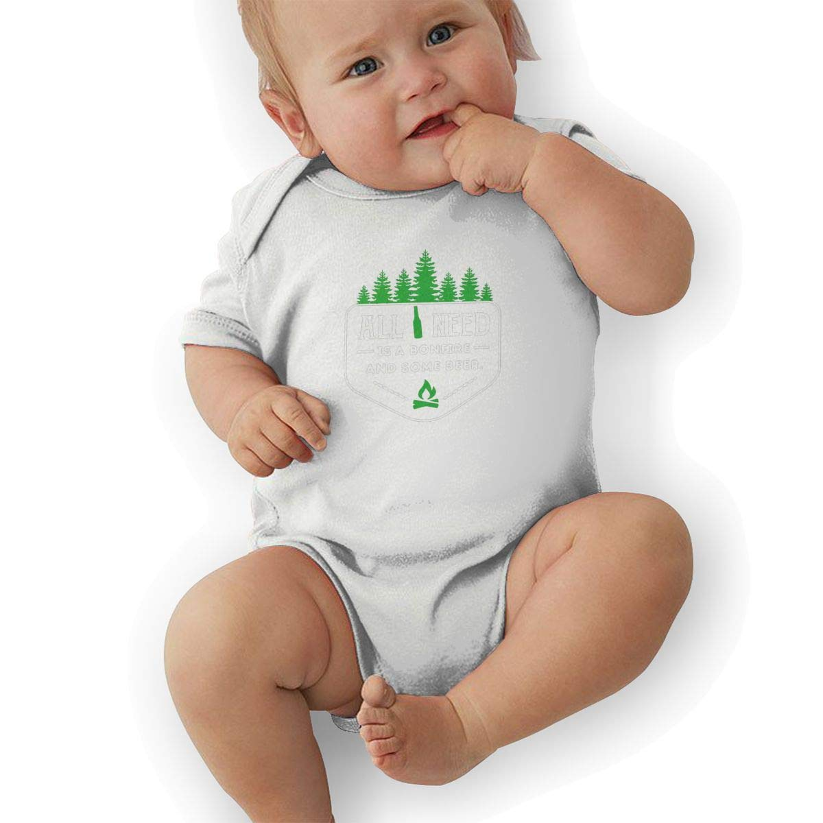 QUCHEN All I Need is Bonfire and Beer Baby Boys Girls Long Sleeve Bodysuits Rompers Outfits 6-48 Months