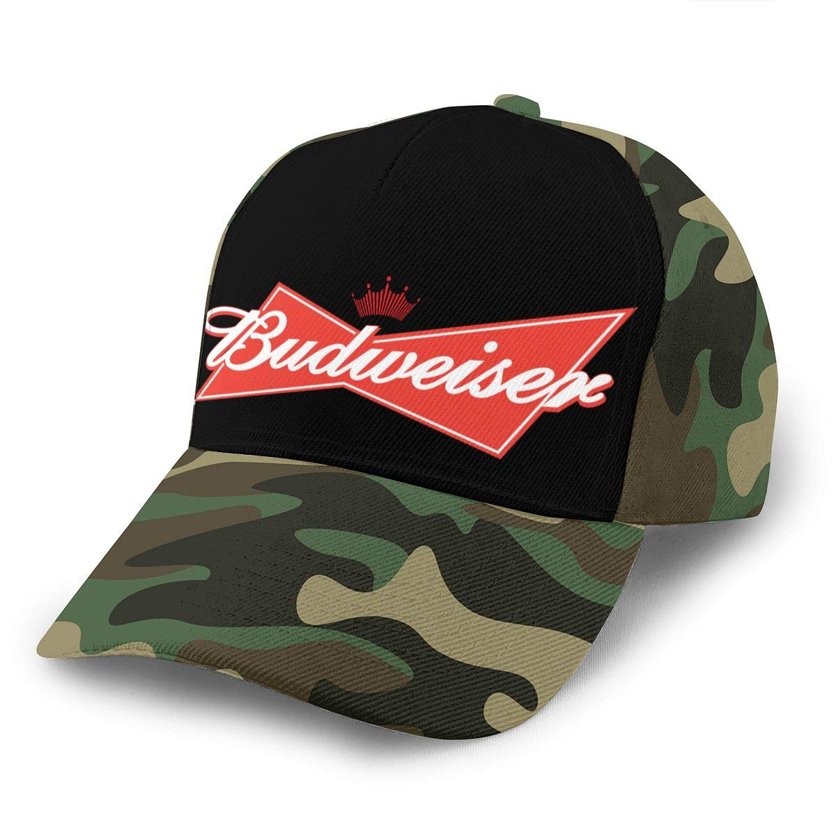 Adjustable Women Men Budweiser-Logo Print Baseball Cap Flat Brim Cap Hats Hip Hop Snapback Sun Hat Boys Girls Moss Green by Apolonia