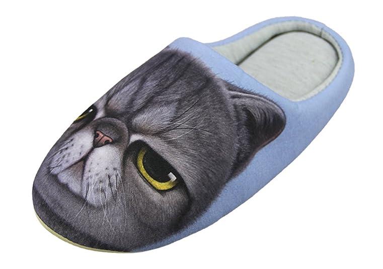 Fashion 3D Cat/Dog Cotton Slippers Winter Thick Antiskid Slip-On Indoor Foot Warmer for Men Women