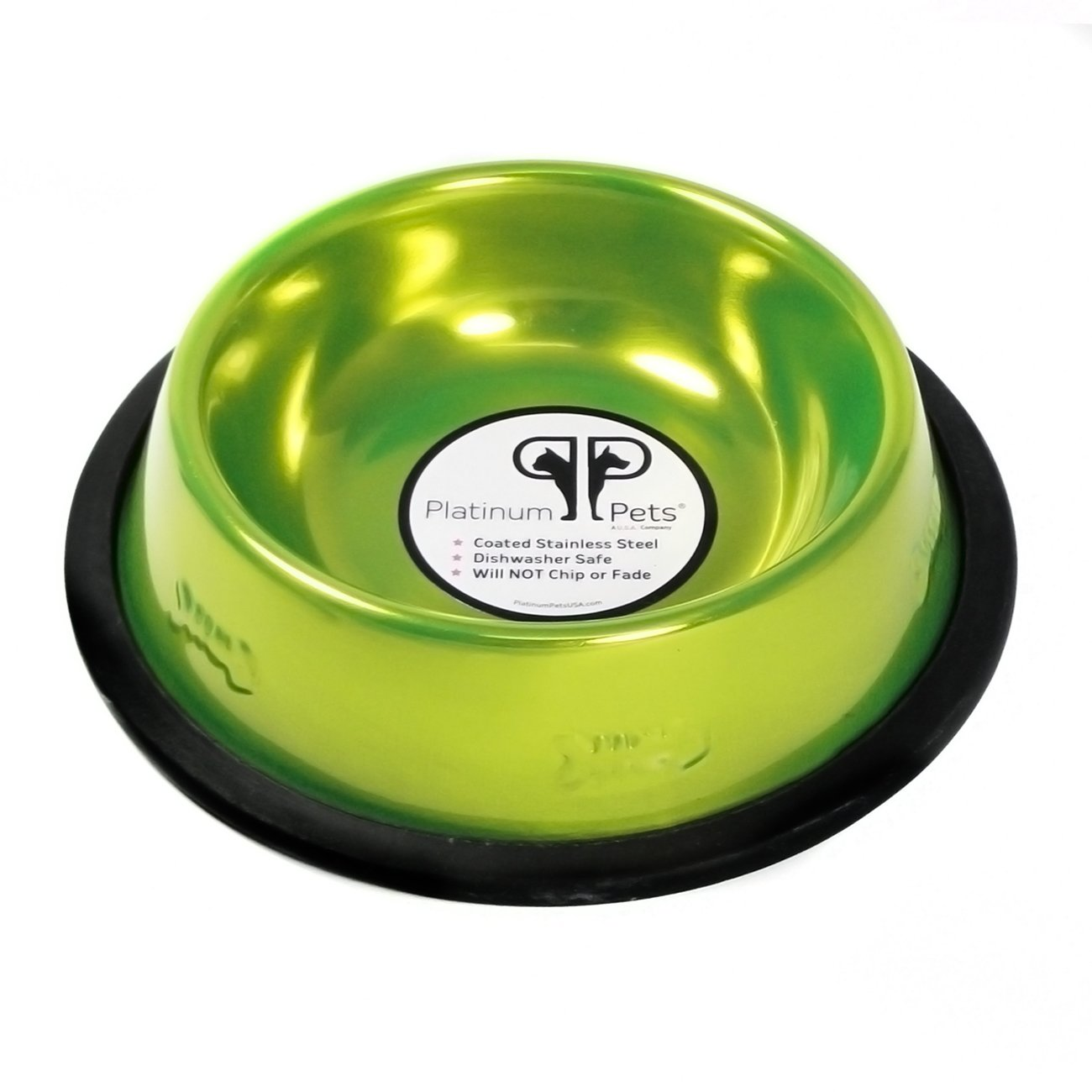 Platinum Pets Non-tip Stainless Steel Cat Bowl, 6 oz, Lime