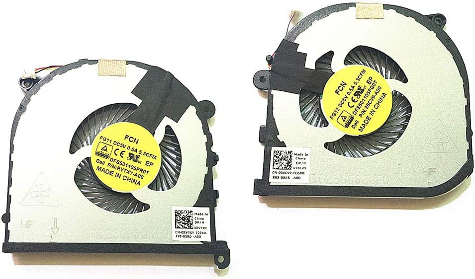 New CPU + GPU Cooling Fan for Dell XPS15 9550 Precision 15 5510 Laptop CN-0RVTXY CN-036CV9 DFS501105PR0T 4-Pin (Left & Right Side Fan)
