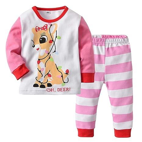 Baby Girl Christmas Pajamas Set Top camisa rosa y pantalón 2 piezas Homewear: Amazon.es: Bebé