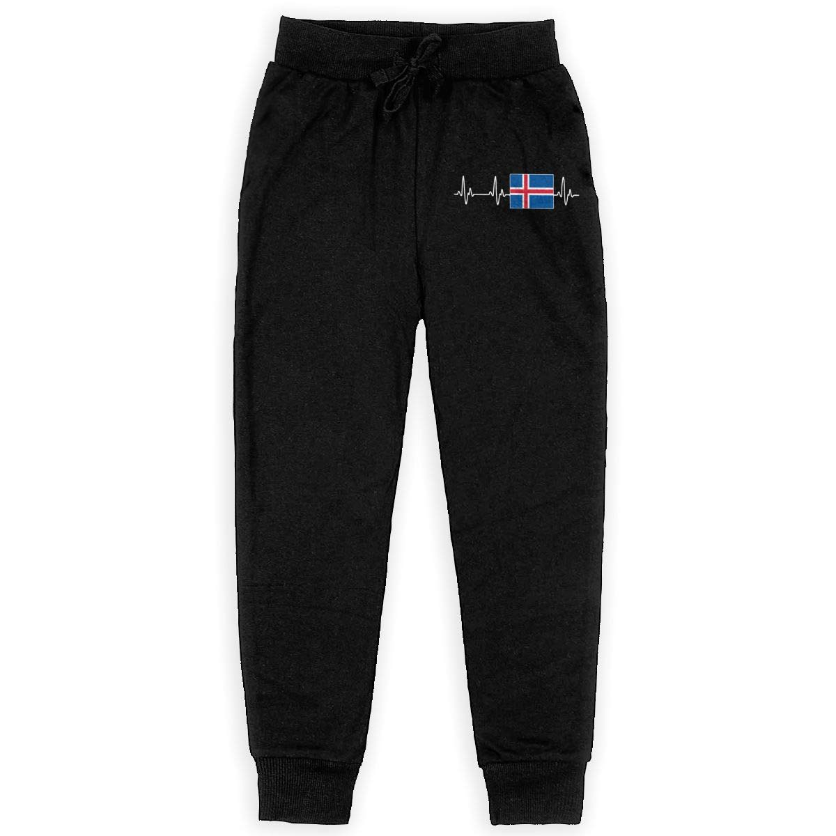 WYZVK22 Iceland Heartbeat-1 Soft//Cozy Sweatpants Youth Active Pants Teenager Girls