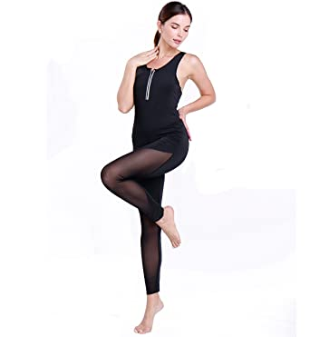 f9d6685b45d3 Women One Piece Sexy Sleeveless Backless Yoga Bodysuit Jumpsuit Rompers  Playsuits with Black Mesh Black