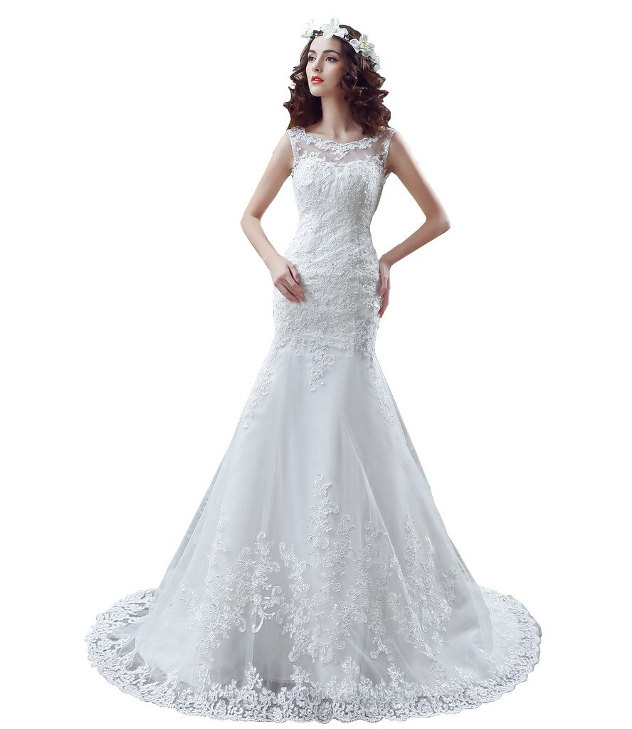 BoShi Women's Lace Bride Gowns Appliques Court Train Wedding Dresses US 02