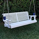 Amish Heavy Duty 800 Lb Roll Back Treated Porch Swing With Hanging Ropes And Cupholders (4 Foot, Semi-Solid White Stain)