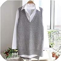 Solarwater Knitted Vest Chaleco de Punto para Mujer, suéter Casual Suelto con Cuello en V, Longitud Media