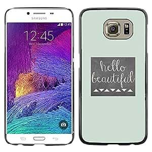 iKiki Tech / Estuche rígido - Girl Silhouette Bow Pink Hairdresser Beige - Samsung Galaxy S6 SM-G920