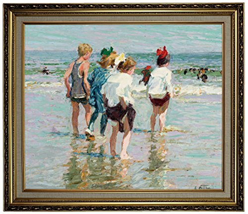 Historic Art Gallery Summer Day, Brighton Beach by Edward Henry Potthast Framed Canvas Print, 20
