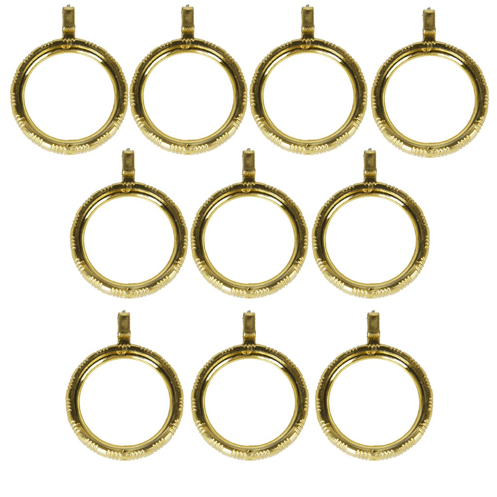 10pcs Curtain Rod Rings with Eyelet Golden Color Generic AEQW-WER-AW134927