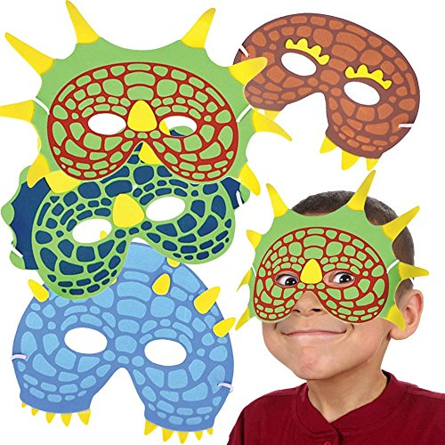 Toy Cubby Pack of 12 Dinosaur Costume Foam Masks - One Dozen Party Halloween Animal Print Birthday Party Supplies. -