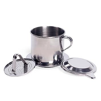FunnyTod365 - Cafetera de acero inoxidable para café, tipo prensa, taza de café,