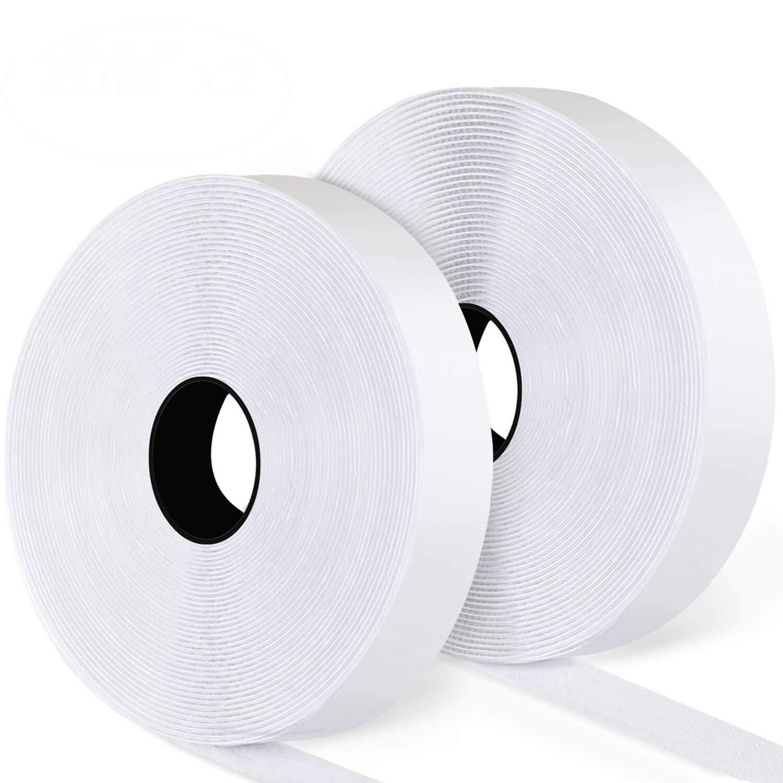 Blooven Velcro Adhesivo, 8M Auto Adhesivo Cinta Rollo Hook y Loop Tape Gancho y Cinta