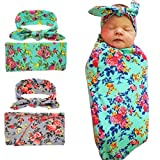 Newborn Swaddle Blanket Headband with Bow Set Baby Receiving Blankets Shower Gift