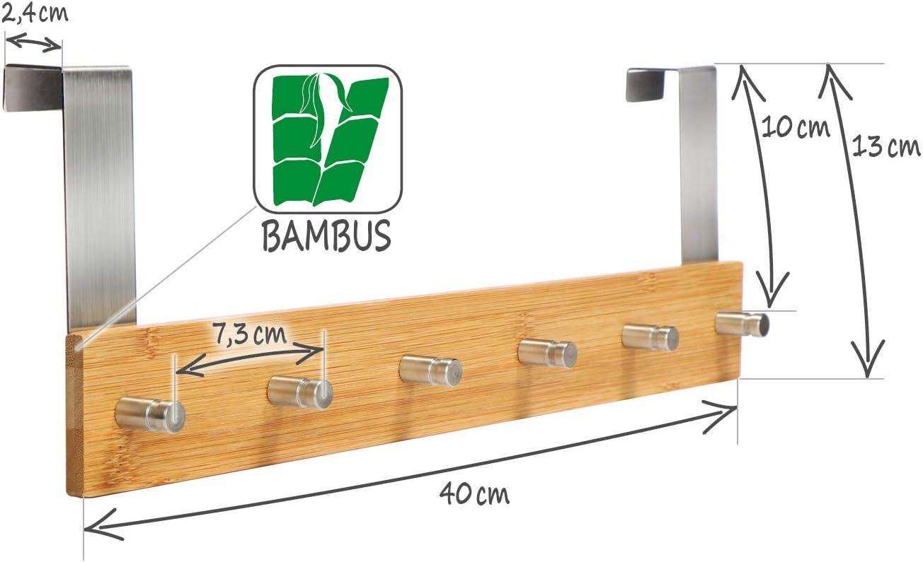 Perchero de Pared para Colgar en la Puerta com-four/® Armario de bamb/ú con 6 Ganchos para Puerta 01 Pieza - bamb/ú