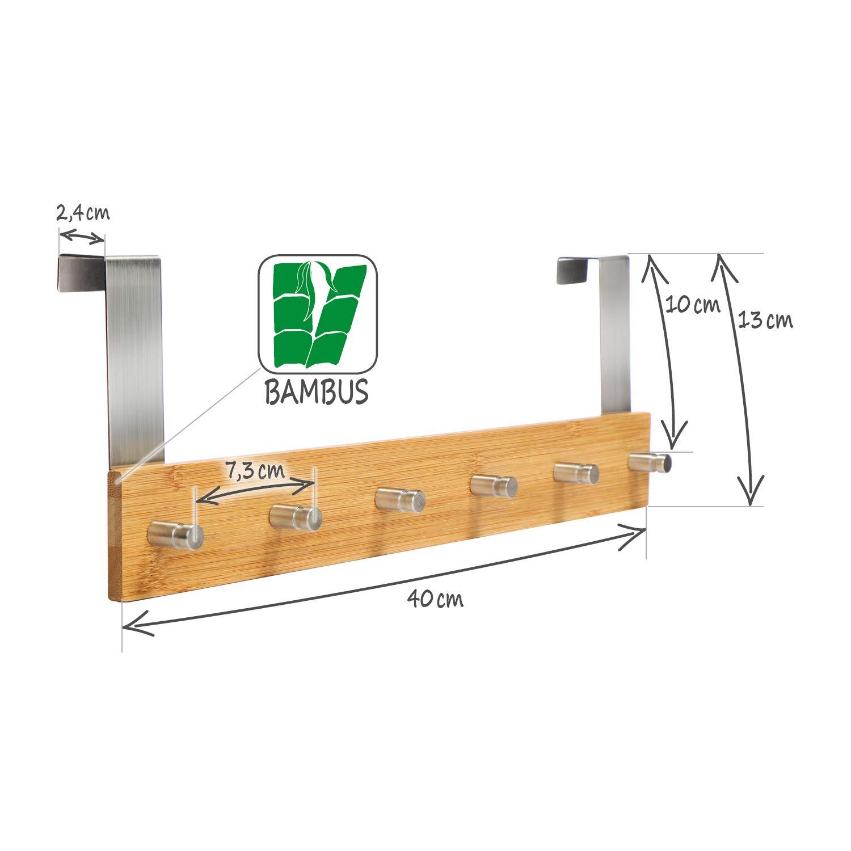 com-four/® Armario de bamb/ú con 6 Ganchos para Puerta 01 Pieza - bamb/ú Perchero de Pared para Colgar en la Puerta