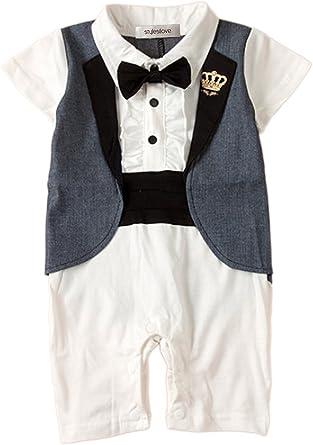 stylesilove Baby Boy Tuxedo Special Occasion Romper Onesie