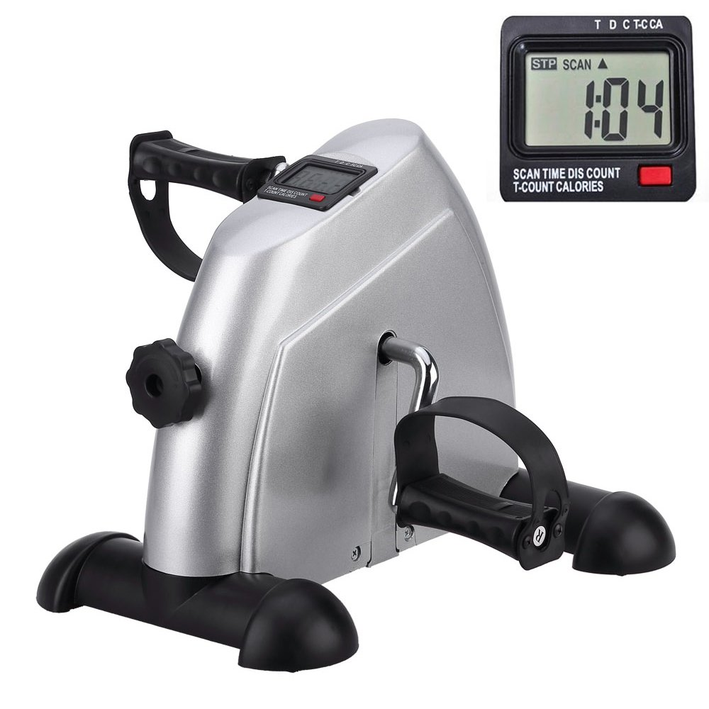 Mini Exercise Bike Portable Home Pedal Exerciser Gym Fitness Leg Arm Cardio Training Adjustable Resistance LCD Display Women Men by HIMALY (Image #1)