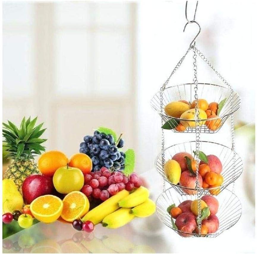 3-Tier Wire Hanging Basket Chrome Fruit Holder Vegetable Holder