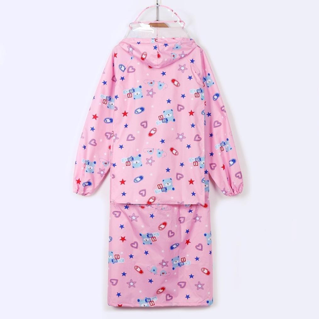 Suma-ma Children Boys And Girls Cartoon Printed Raincoat Waterproof Coat (PINK, S)