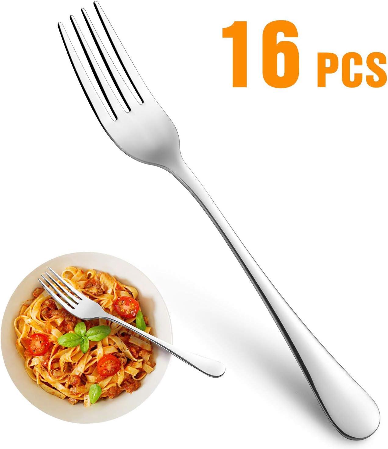 Dinner Forks,Set of 16 Top Food Grade Stainless Steel Silverware Forks,Table Forks,Flatware Forks,8 Inches,Mirror Finish & Dishwasher Safe,Use for Home,Kitchen or Restaurant