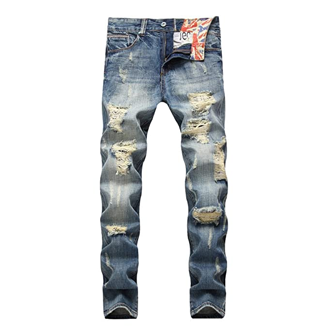 XIAOXUE Pantalones Vaqueros Rasgados De Los Hombres Jeans ...