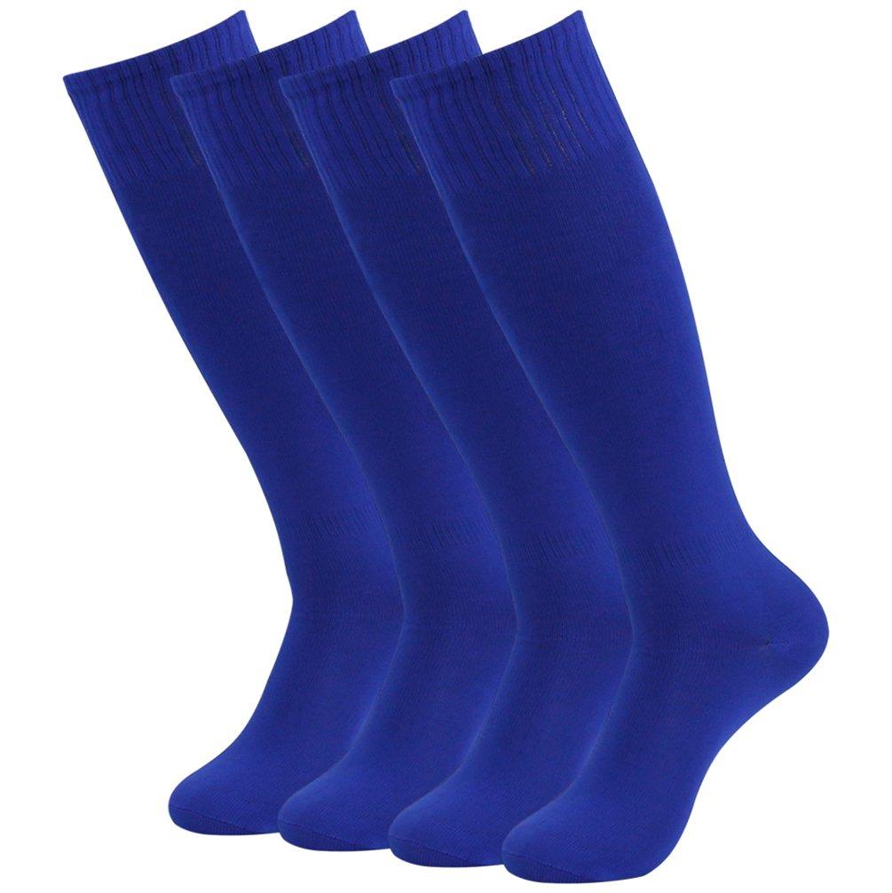getsporユニセックスサッカーソックスチームスポーツロングチューブソックスKnee High 2 /4 /6 /12ペア B077JF35D7 Blue 4 Pairs Blue 4 Pairs
