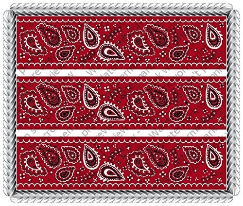 Bandana Red - Designer Strips - Edible Cake Side Toppers - D20000 by DecoPac ()