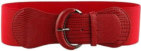 TALLA S(26''-33''). WODISON Mujer Vintage Cinturón Plus Ancho Elástico de Estiramiento