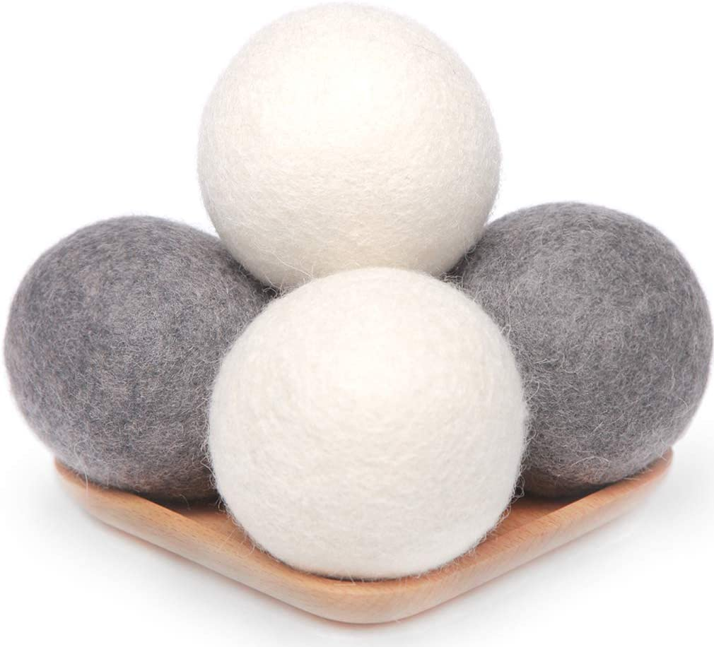 Wool Dryer Balls 4 Pack XL, 2.96inch Premium New Zealand Wool Laundry Balls, Organic Natural Fabric Softener, Baby Safe, Reduce Wrinkles and Save Drying Time(White & Grey)