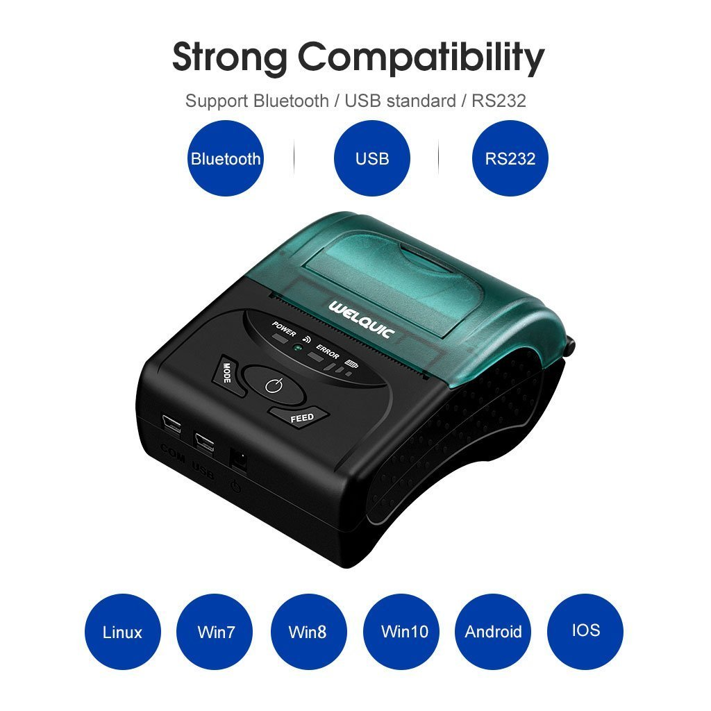 WELQUIC Portable Mini Wireless 58mm Bluetooth High Speed Direct Thermal Printer, Compatible with Android & iOS & Windows & Linux Systems and ESC/POS Print Commands Set
