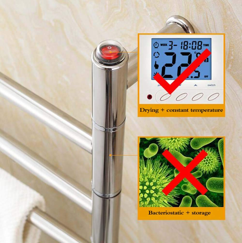 tendedero de Acero Inoxidable 304 tama/ño: 46x56x12cm tendedero de ba/ño tendedero Toallero el/éctrico con calefacci/ón