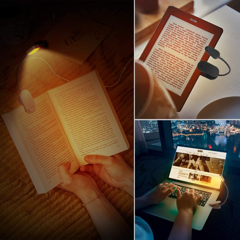 Anti-luz Azul 4 LED Luz Nocturna con 2 Modos de Brillo para E-Reader Cocoda Luz de Lectura Tablet Flexible Lampara Lectura Pinza para Leer Libros en la Cama Cama Luz de Libro Recargable,