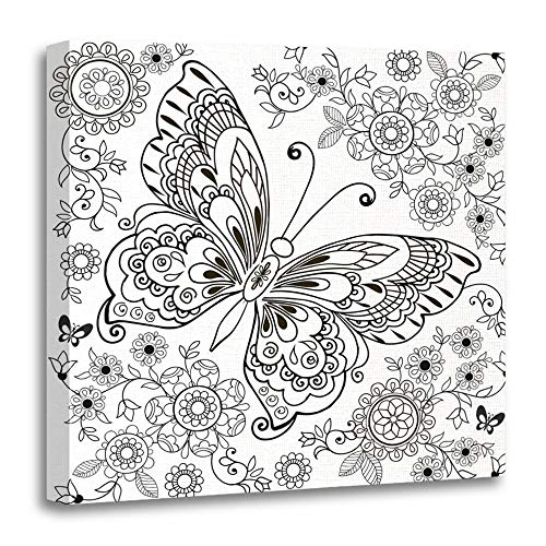 Emvency Painting Canvas Print Wooden Frame Artwork Decorative Adult Butterfly with Floral for Anti Stresa Coloring Book Page Zentangle Animal 12x12 Inches Wall Art for Home Decor