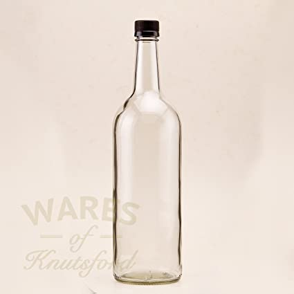 cc7abb5efb98 Pack of 6 1 Litre Glass Bottles Empty Clear Water Juice Bottles Black  Plastic Screw Caps, perfect for non carbonated drinks of all kinds.
