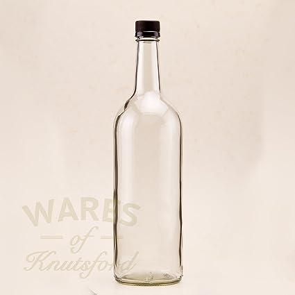 Paquete de 6 1 litro de agua Mineral botellas de plástico negro tapones de rosca,
