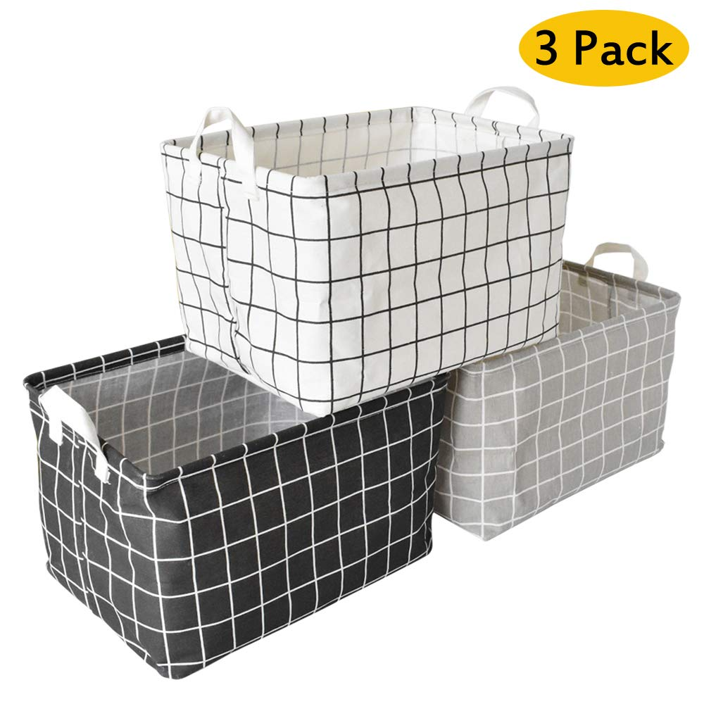Yoweenton 3 Pack Square Toy Storage Basket, 15.5 Inch Canvas Fabric Foldable Laundry Storage Bin with Handles for Home, Office, Nursery, Toys, Dorm, Closet by Yoweenton