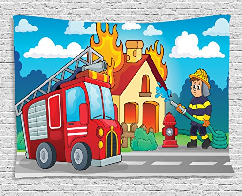 Lunarable Fire Truck Tapestry, Firefighter Man Splashing Water to a House in Flames Cartoon Safety and Rescue, Wall Hanging for Bedroom Living Room Dorm, 80 W X 60 L Inches, Multicolor