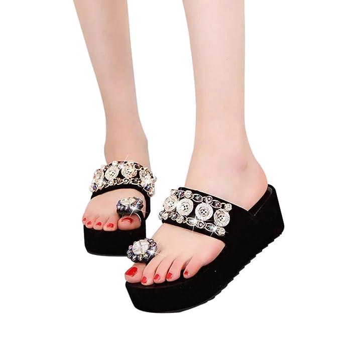 OYSOHE Frauen Mode Runde Kappe Plattform High Heels Sandalen Kristall Flache Sandalen Zehe Slip Sandalen