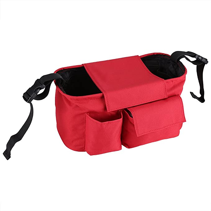 3 Deep Cup Holders Shoulder Strap for Carrying Large-Capacity Stroller Storage Bag Gray Universal Large Stroller Stroller Storage Bag with Wet and Dry Separation Area
