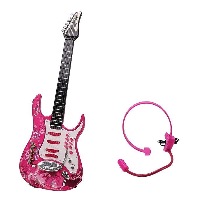 MRKE Guitarra Electrica Niños 6 Cuerdas Rock Juguete de Instrumentos Musicales con Auriculares y Correa de Guitarra para Infantil Niño y Niña 3-8 Años ...