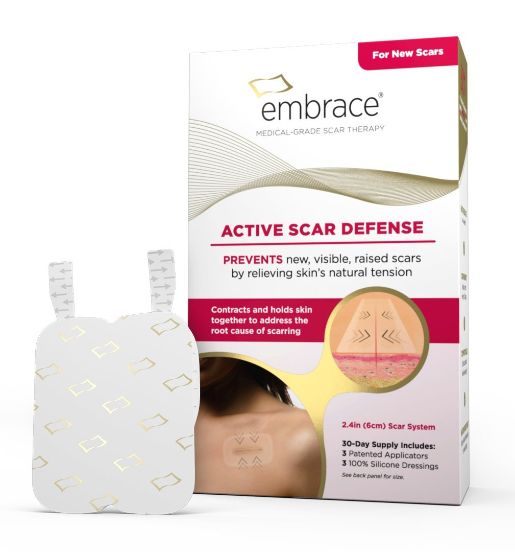 Scar Treatment by Embrace, Silicone Sheets for New Scars with Active Scar Defense, Medium 2.4 Inch Sheets, 3 Count, Initial Half Treatment (30 Day Supply)