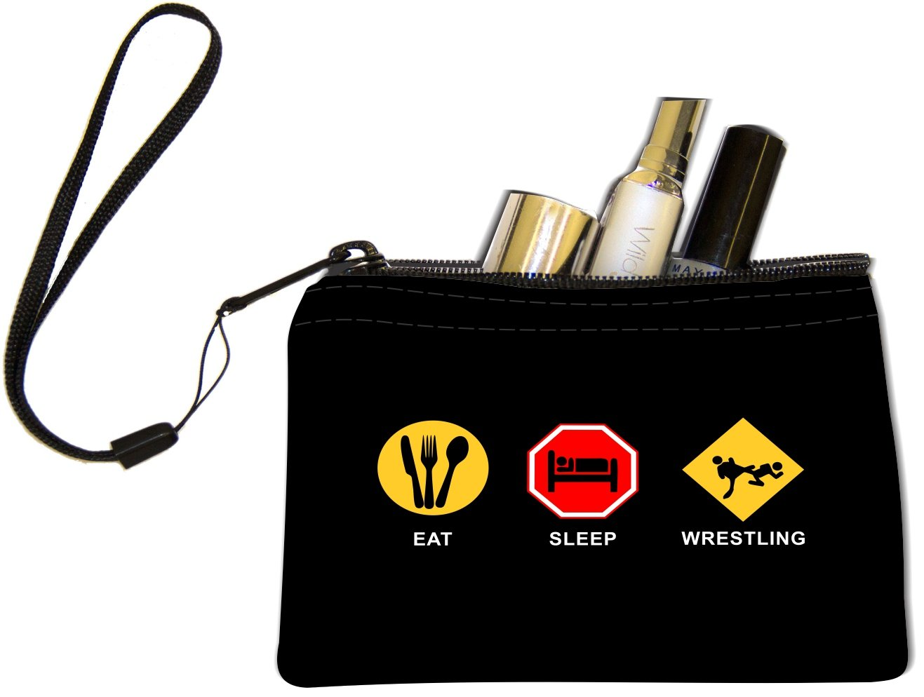 Rikki Knight Eat Sleep Wrestling Design Keys Coins Cards Cosmetic Mini Clutch Wristlet