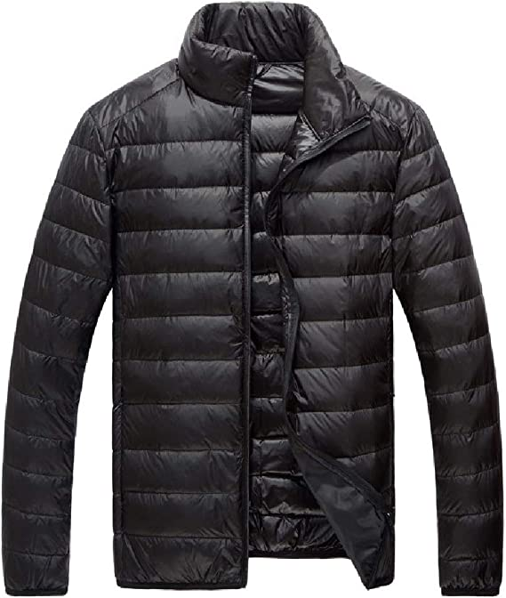Abetteric Men Stand Collar Winter Lightweight Mini Outerwear Down Jacket