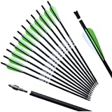 REEGOX Crossbow Bolts 16/18/20 inch Bio Crossbow Arrows with Moon Nocks and Removable Tips (Pack of 12)