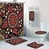 PRUNUS Designer Bath Polyester 5-Piece Bathroom Set, Spiritual Motif with Middle Islamic Influences Emerald Red Print bathroom rugs shower curtain/rings and Both Towels(Large size)