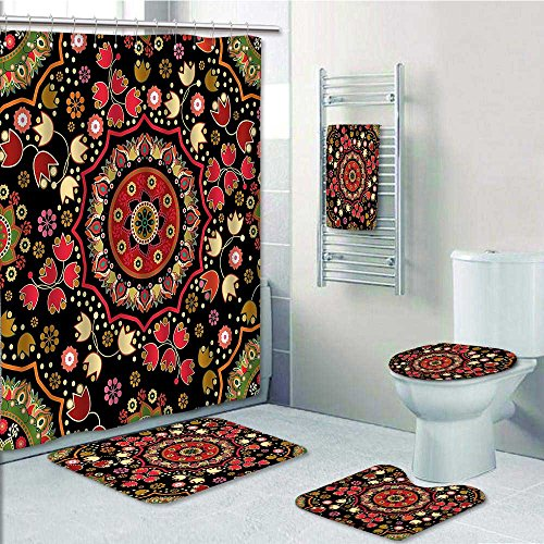 PRUNUS Designer Bath Polyester 5-Piece Bathroom Set, Spiritual Motif with Middle Islamic Influences Emerald Red Print bathroom rugs shower curtain/rings and Both Towels(Large size) by PRUNUS