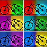 HOOMIL (1-Tire Pack) Waterproof RGBW LED Bike Wheel Lights 7 Colors Changeable for Cool Adults Kids, Ultra Bright Colorful LED Bicycle Wheel Lights Tire Spoke Light Bike Decorations Lights for Wheels